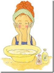 洗顔している女子