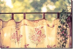 暖簾のかかった窓