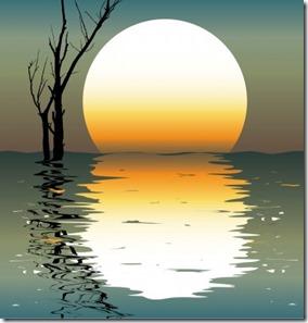 湖に落ちる夕日
