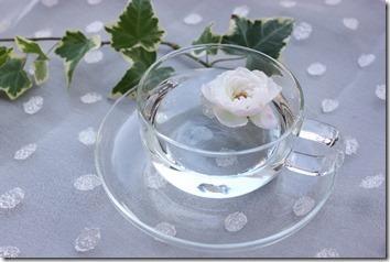 透明なカップに白い花