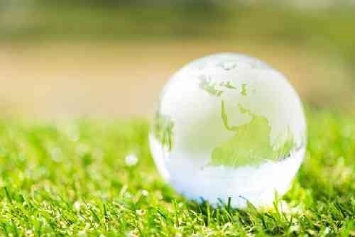 草の上の地球儀